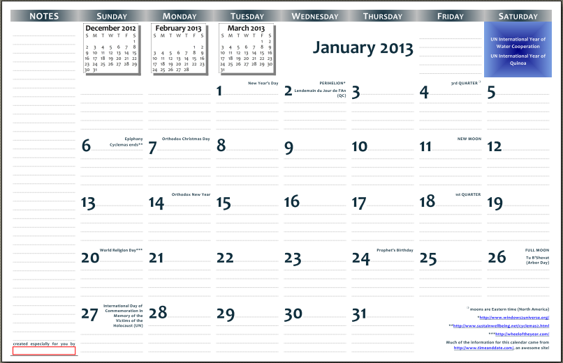 12 Month Calendar 2013 Printable One Page