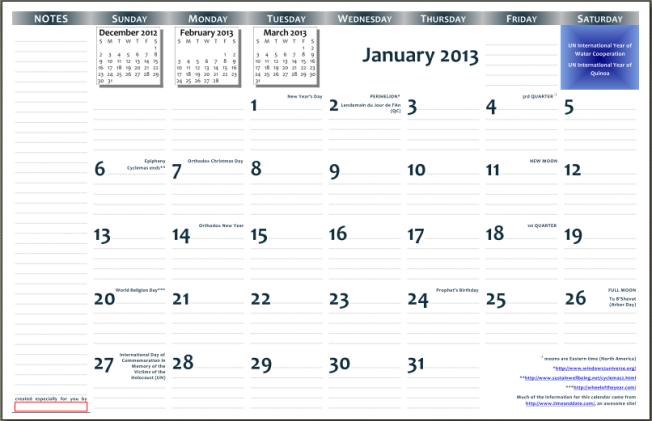 2013 calendar preview image