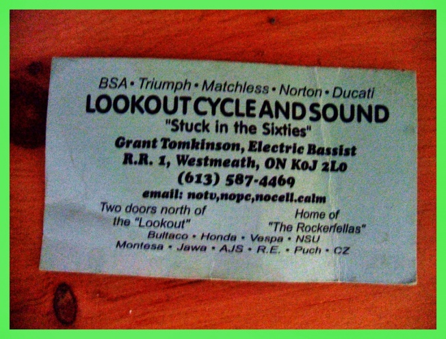 Grant Tomkinson, Lookout Cycle and Sound (business card)