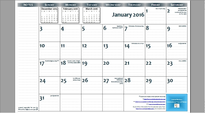 2016 11″x17″ free printable page-per-month wall calendar — PDF format (JPG preview)